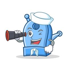 Sailor with binocular pencil sharpener character vector