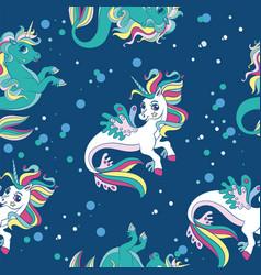 seamless pattern with beauty sea unicorns vector image