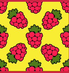 seamless raspberry background yellow pattern vector image