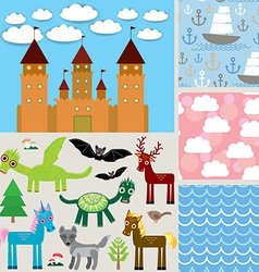 Set 3 seamless background Castle Fabulous animals vector