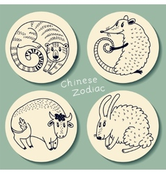set chinese zodiac signs vector image
