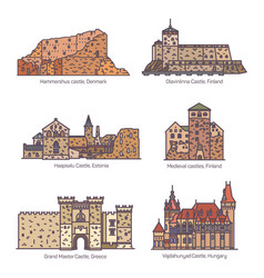 set isolated line castles and architecture vector image