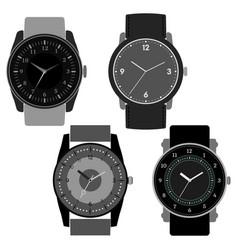 set of four black and white watches vector image