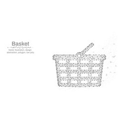 shopping basket made by points and lines low poly vector image
