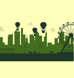 Silhouette amusement park scenery collection vector