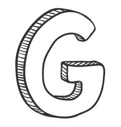 Single doodle sketch - the letter g vector