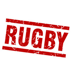 Square grunge red rugby stamp vector