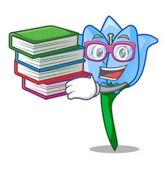 Student with book bell flower mascot cartoon vector