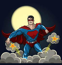 Superhero with red cape vector