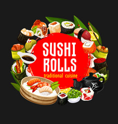 Sushi and rolls japanese cuisine seafood vector