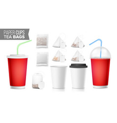 Take-out ocher paper cups tea bags mock up vector