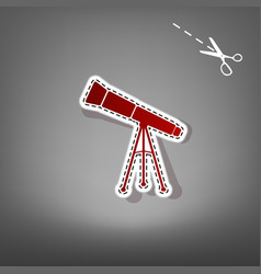 telescope simple sign red icon with vector image