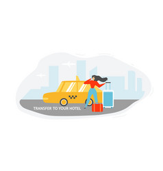 transfer to hotel with taxi flat concept vector image