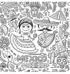 travel to mexico seamless pattern for your design vector image