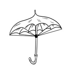umbrella sketch black and white doodle vector image