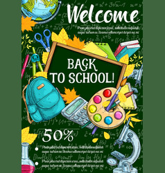 Welcome back to school sketch banner sale design vector