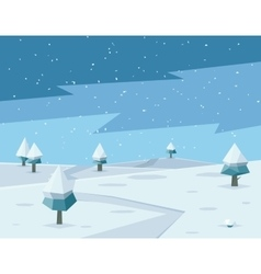 Winter low poly background with road and polygonal vector