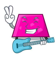 with guitar trapezoid mascot cartoon style vector image