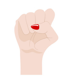 womans fist raised up isolated on white vector image