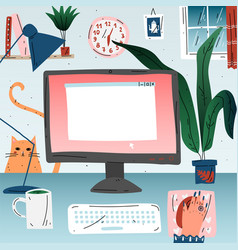 Workplace with computer at home office workspace vector