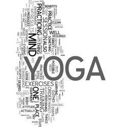 Yoga for the beginner text word cloud concept vector