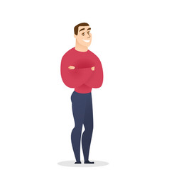 young man cartoon character standing crossed arms vector image