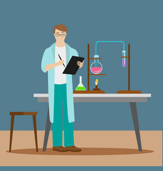 A chemist or an assistant writes down the results vector