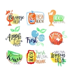 Fresh Fruit Juice Promo Signs Colorful Set vector image vector image