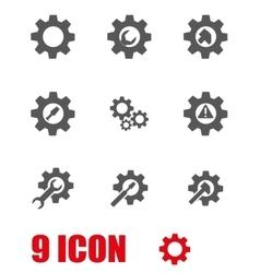 grey tools in gear icon set vector image