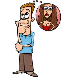 man think about woman cartoon vector image vector image