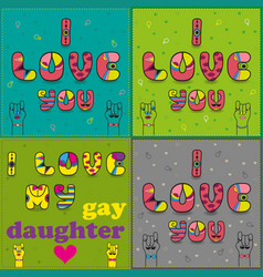 Set of cards with romantic texts by artistic font vector