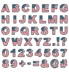 stitched usa alphabet vector image