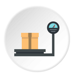 Weight scale with box icon circle vector