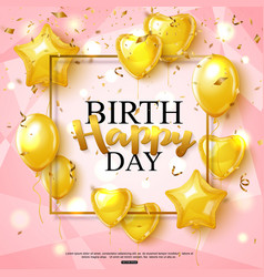 Birthday greeting card on shiny pink background vector