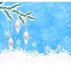 Christmas toys in the form of icicles on a branch vector
