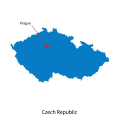Detailed map of Czech Republic and capital city vector image vector image