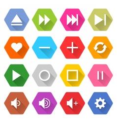 Flat media icon 16 set hexagon web button vector