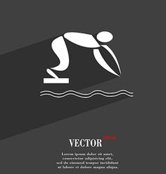 Summer sports diving symbol Flat modern web design vector image