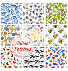Animal bird fish and insect seamless pattern vector