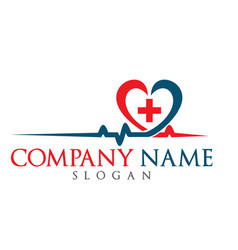 blood pressure and heart cheering cardiogram logo vector image