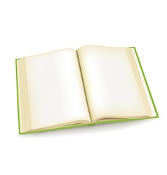 Open green book vector image