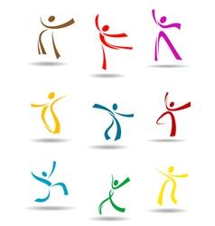 Dancing peoples pictograms vector image vector image