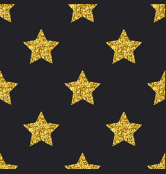 gold glitter stars seamless pattern black vector image