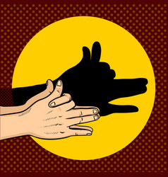 shadow dog puppet pop art style vector image