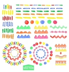Watercolor geometric brushes setBaby style vector image vector image