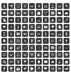 100 cyber security icons set black vector