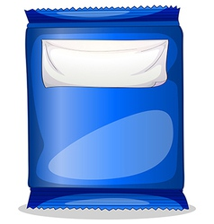 A blue packaging with an empty template for label vector