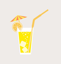 a glass of lemonade a soda on the rocks vector image