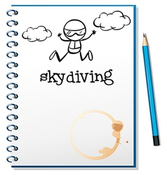 A notebook with an image of a person skydiving vector image