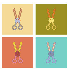 Assembly flat icons kids toy scissors vector